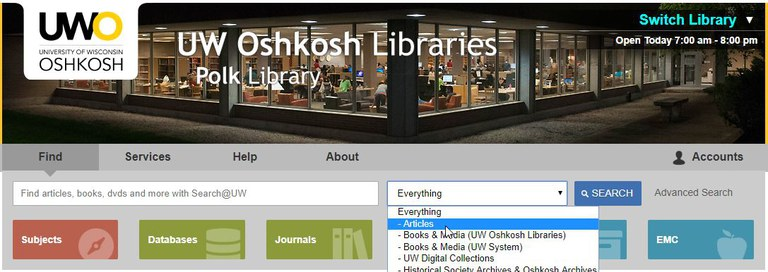 Library homepage search