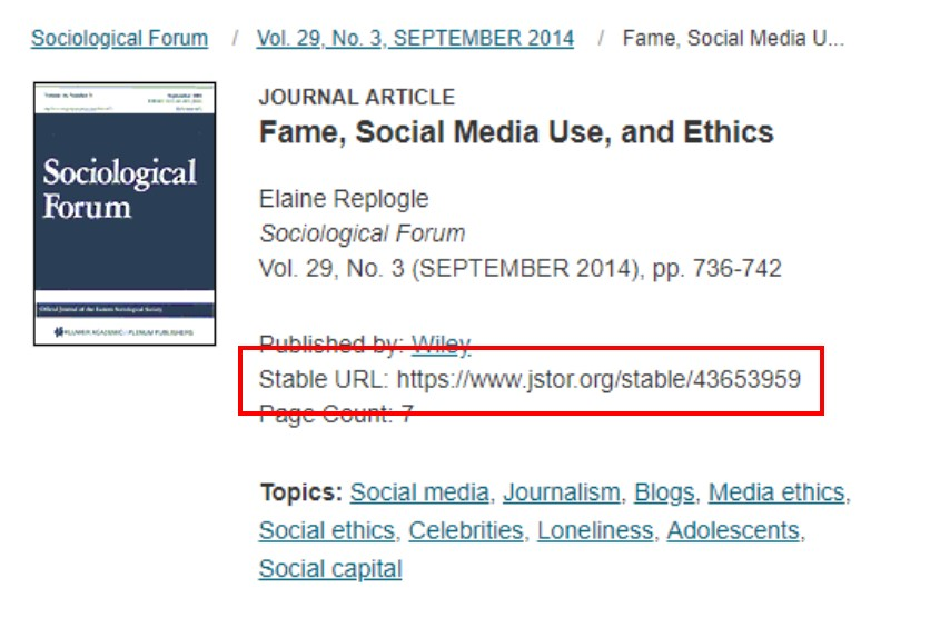 A screenshot of the JSTOR database with the permalink highlighted with a red box.