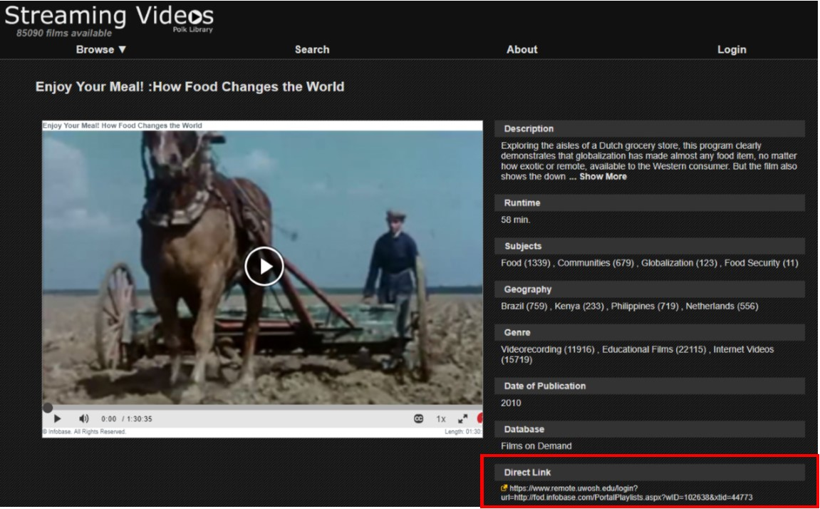 A screenshot of Polk's Streaming Video Page with the direct link highlighted.